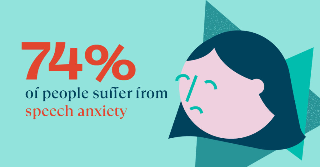 74% of People Suffer from Speech Anxiety with Anxious Face