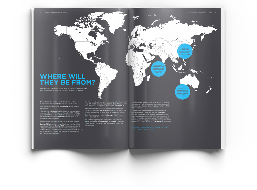 """White world map on dark grey background with blue circles highlighting key locations for international residential property sales. Text on the bottom left of the page with the headline """"where will they be from?"""" Photo is an example of a magazine style report design."""
