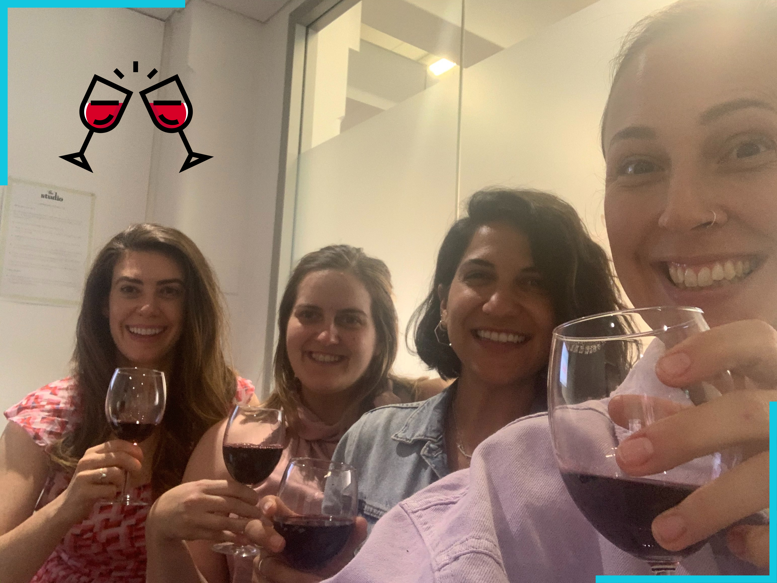 persuaders team with wine at a pinot and planning meeting