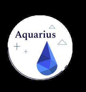 blue geometric water symbol for aquarius
