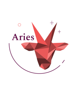 """red geometric ram head with the title """"aries"""""""