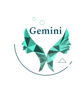 green geometric twins symbol for gemini
