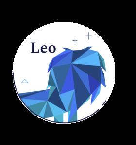 blue geometric lion symbol for leo