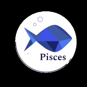 blue geometric fish symbol for Pisces