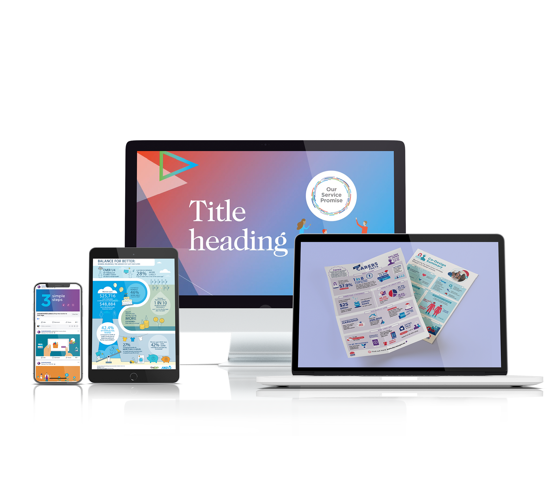 Mockup of design assets on digital devices after it has been designed by Persuaders