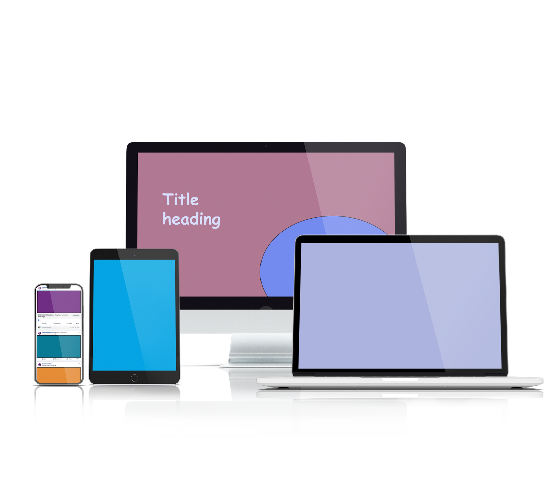 Mockup of design assets on digital devices before it has been designed by Persuaders