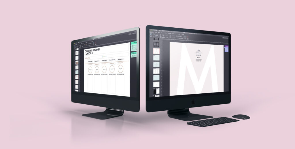 two computer screens showing different slides from the template facing away from each other