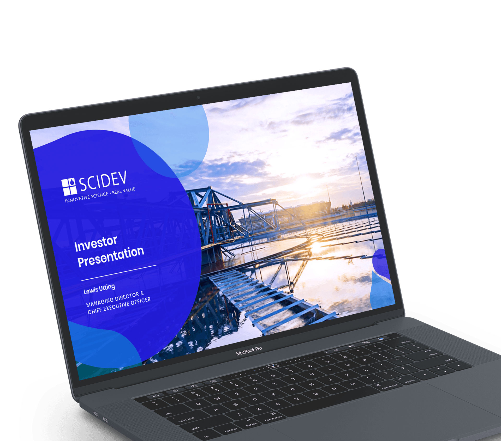 Mockup of a presentation on a laptop after it has been designed by Persuaders