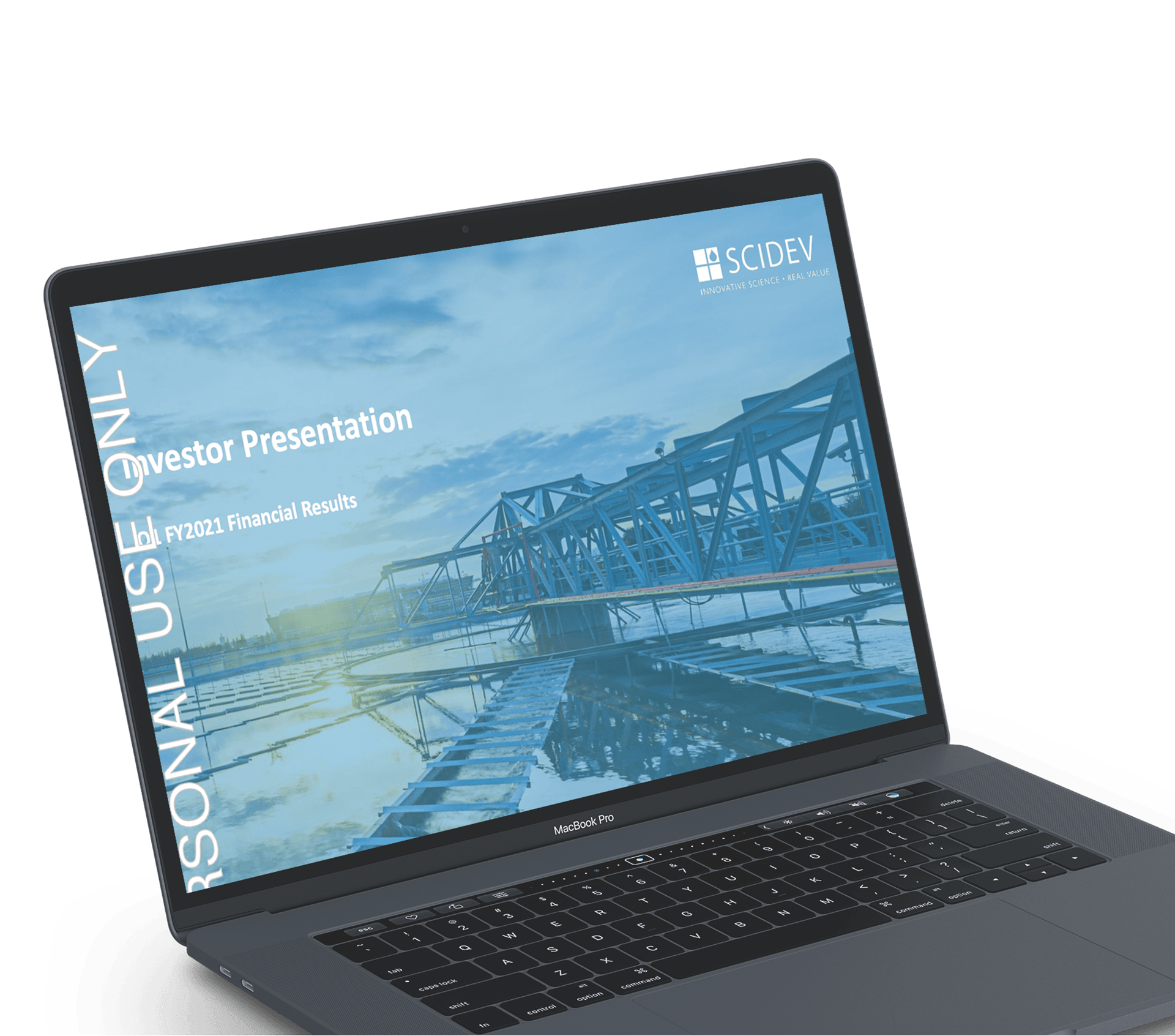 Mockup of a presentation on a laptop before it has been designed by Persuaders