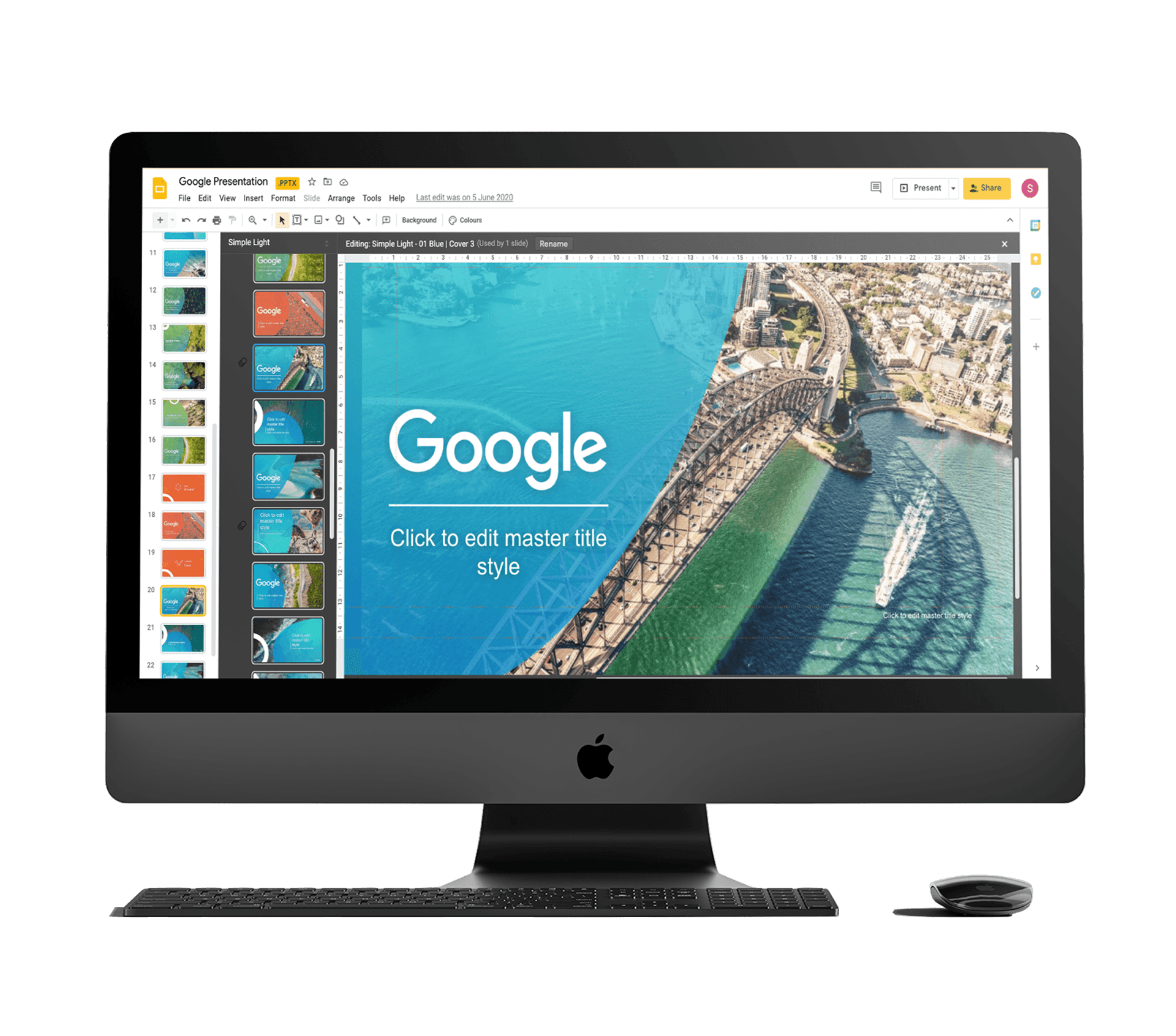 Flat lay mockup of Google project on a computer screen